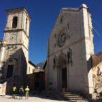 La facciata di San Benedetto a Norcia dopo il crollo