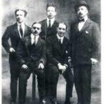 Da sinistra, Alessandro Palazzeschi, Carlo Carra, Giovanni Papini, Umberto Boccioni, Tommaso Marinetti