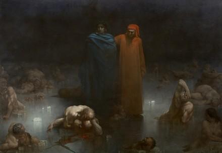 G. Doré, 1861 - Dante et Virgile dans le neuvième cercle de l'enfer