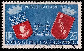 francobollo della Repubblica italiana, emesso nel 1959 in occasione del III anniversario del Gemellaggio Roma-Parigi