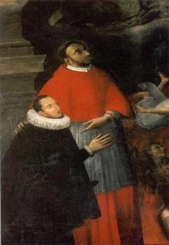 Giovanni Balducci, Pala del Perdono, 1609 (particolare) – Carlo Gesualdo, sorretto da San Carlo Borromeo, riceve il perdono dei suoi peccati. Chiesa di Santa Maria delle Grazie