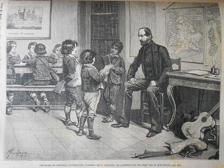 """La scuola di Hatton Garden - Mazzini in esilio insegna ai bambini poveri di Londra. Immagine tratta da """"Della Vita di Giuseppe Mazzini"""" di Jessie White Mario volume della proprietà di Miss Fletcher."""