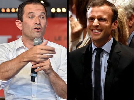Hamon e Macron