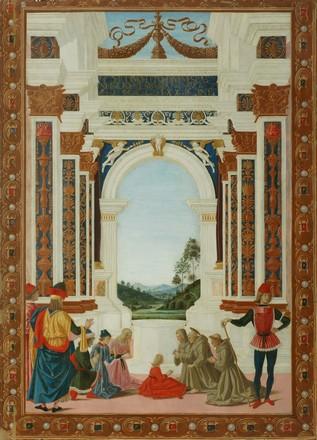 Le Pérugin, Saint-Bernardin soigne d'un ulcère la fille de Giovanni Antonio Petrazio da Rieti. Pérouse, Galleria nazionale dell'Umbria