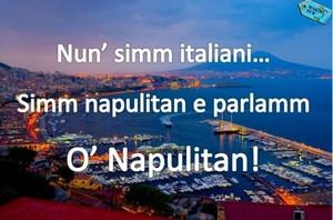 Foto dal blog.makinsud.com. Faux napolitain! Orthographe correcte: Nun simmo italiane, simmo napulitane e parlammo 'o napulitano.