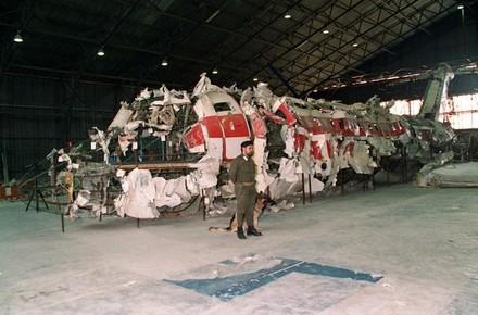 Les restes de l'avion. Musée de la Mémoire d'Ustica.