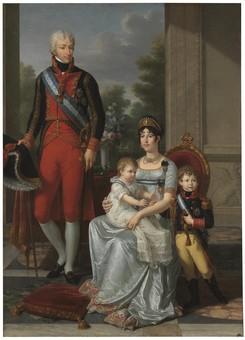 Ludovico di Borbone Parma (1773-1803) e Maria Luisa di Spagna (1782-1824), Re e regina d'Etruria con i figli (1803)