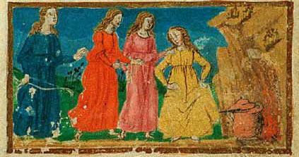 Le ninfe cucinano, da un codice del Ninfale fiesolano (XV sec.) conservato nella Biblioteca Riccardiana di Firenze.