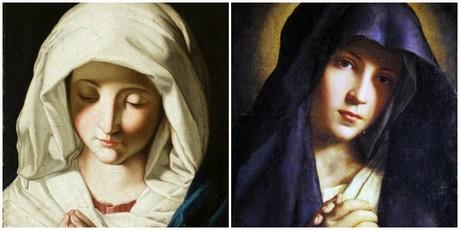 Il Sassoferrato, Madonna orante (Pinacoteca Civica, Ascoli Piceno) e Madonna orante (Musei Civici di Palazzo Buonaccorsi, Macerata)