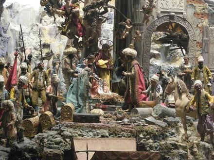 L'adoration des Mages, détail d'une prodigieuse Crèche napolitaine du XVIIIe siècle
