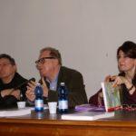 Floriana Calitti, avec Valerio Magrelli et l'acteur Sandro Lombardi, Rome avril 2015. Présentation de la Vita dei testi