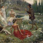 """Dipinto olio su tela dal titolo """"Decameron"""" di Salvatore Postiglione (Napoli 1861-1906)"""