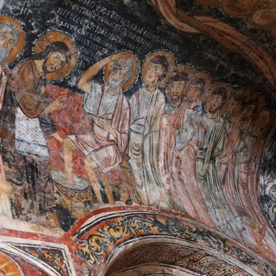 Eglise de San Pietro à Otranto, fresque bizantine, Lavement des pieds. Photo Stéphane Horel