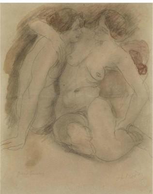 Le due sorelle (Les deux soeurs) di Auguste Rodin, dis. 28x22,5 cm. Venduto da Hampel, Monaco di Baviera.