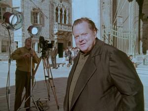 Orson Welles girando Il mercante di Venezia