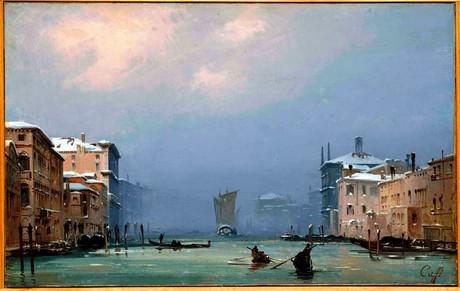 """Ippolito Caffi, """"Venezia, Neve e nebbia in Canal Grande"""", 1842,  Fondazione Musei Civici di Venezia"""