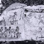 Peinture à Pompéi. On reconnaît le masque noir de Pulcinella en bas.