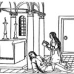"""Figura 1 F. Colonna, """"Hypnerotomachia Poliphili"""", Venezia, Aldo Manuzio, 1499, Incontro tra Polia e Polifilo al tempio."""